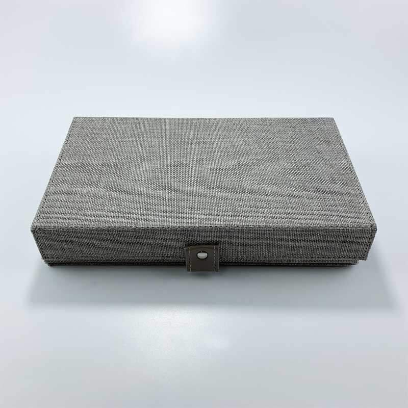 Linen fabric jewelry organizer grid storage tray boxes-2