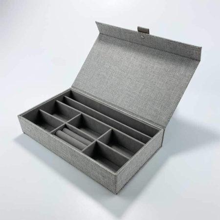 Linen fabric jewelry organizer grid storage tray boxes-3
