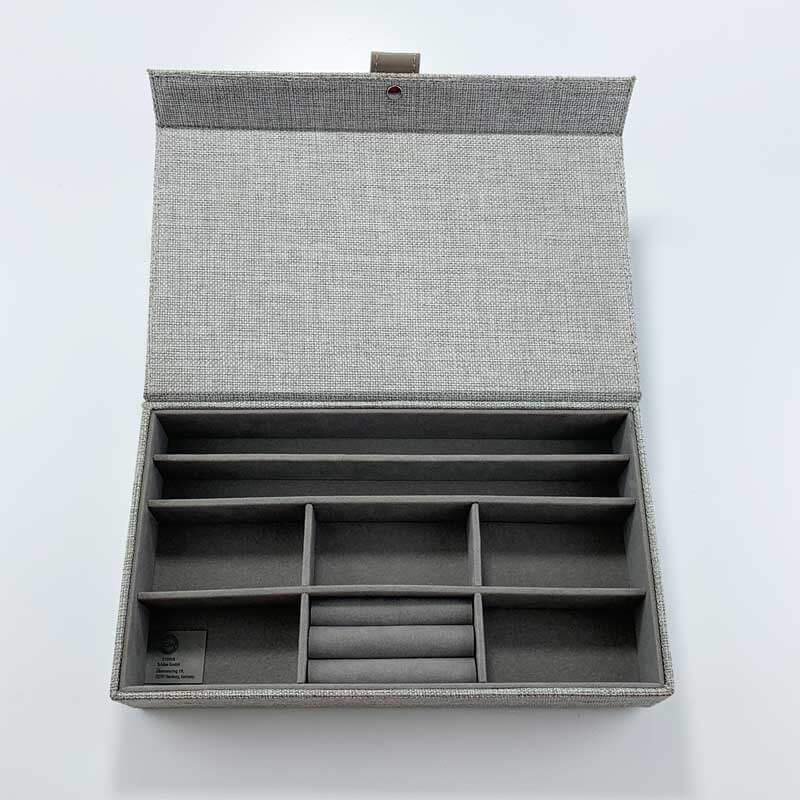 Linen fabric jewelry organizer grid storage tray boxes-4