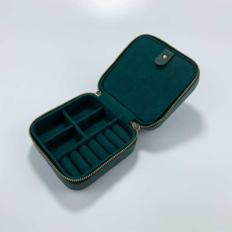 Small Faux Leather Travel Jewelry Organizer Box-1