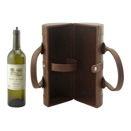 Customized Pu Leather Cylinder Wine Boxes-1