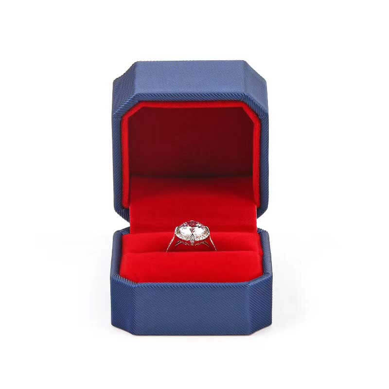 Delicate Leather Octagonal Wedding Ring Box-1