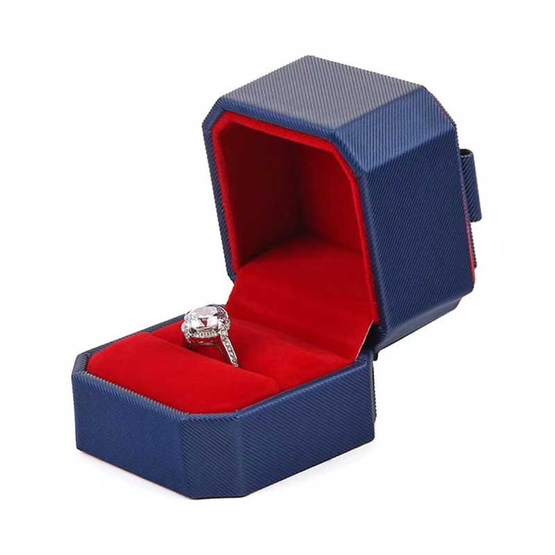 Delicate Leather Octagonal Wedding Ring Box-4