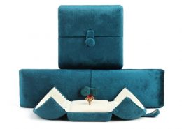 Blue Suede Double Door Jewellery Ring Boxes-1