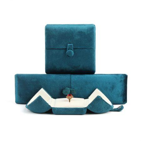 Blue Suede Double Door Jewellery Ring Boxes-1