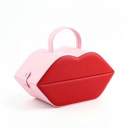 PU Leather Lip Shape Jewelry Organizer Boxes-1