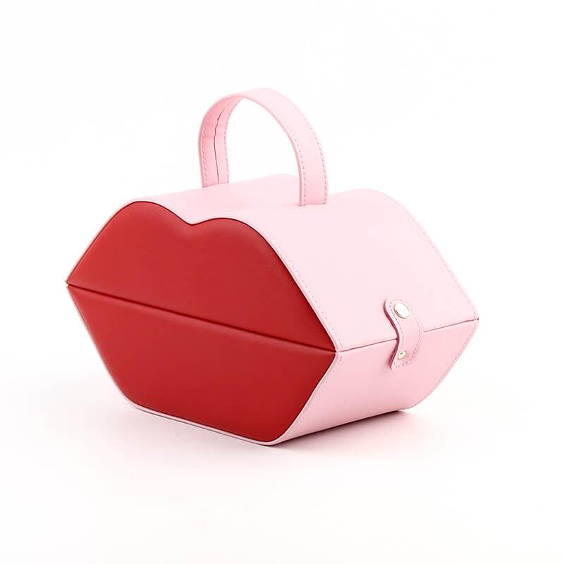 PU Leather Lip Shape Jewelry Organizer Boxes-2
