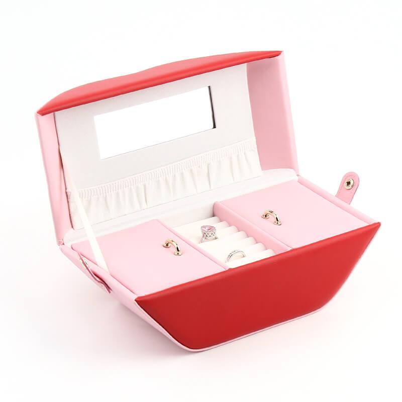 PU Leather Lip Shape Jewelry Organizer Boxes-5