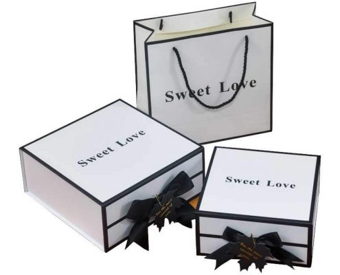 Cube Rectangle Square Gift Box with Ribbon Bowtie-1