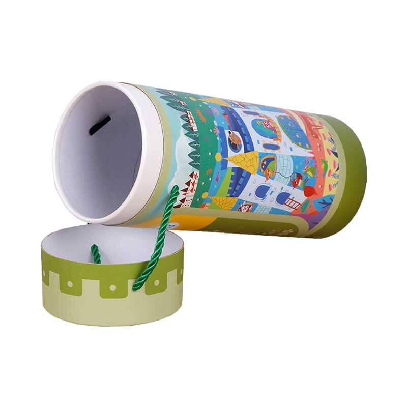 Custom Paper Tube Printed Round Card Puzzle Box-4