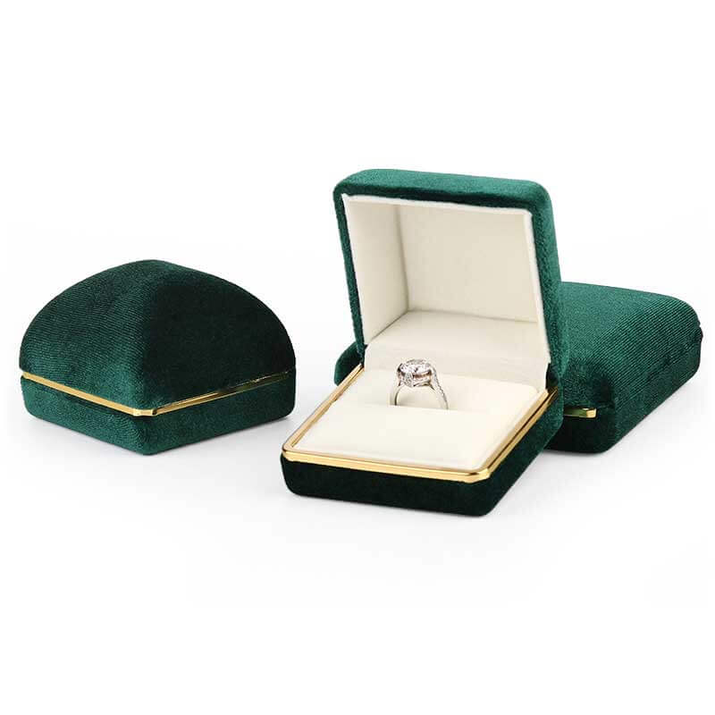 Dome Top Suede Leather Jewelry Boxes-5