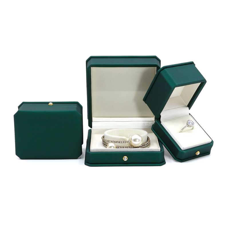 New Style Dark Green Leather Jewelry boxes-3