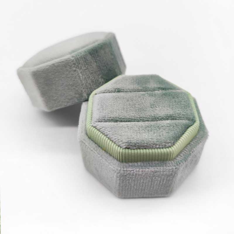 Vintage Hexagon Velvet Wedding Ring Boxes-4
