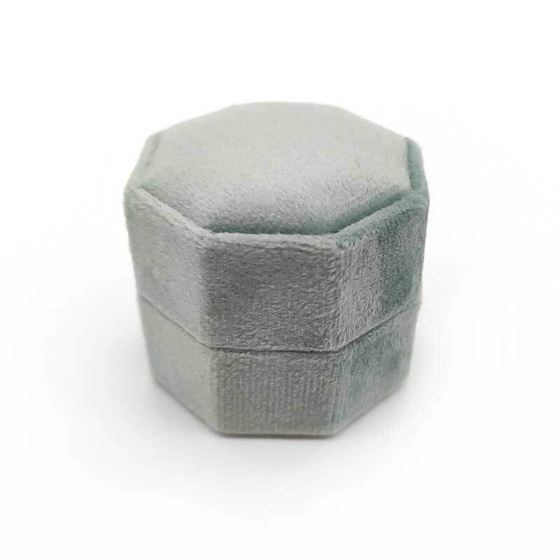 Vintage Hexagon Velvet Wedding Ring Boxes-5