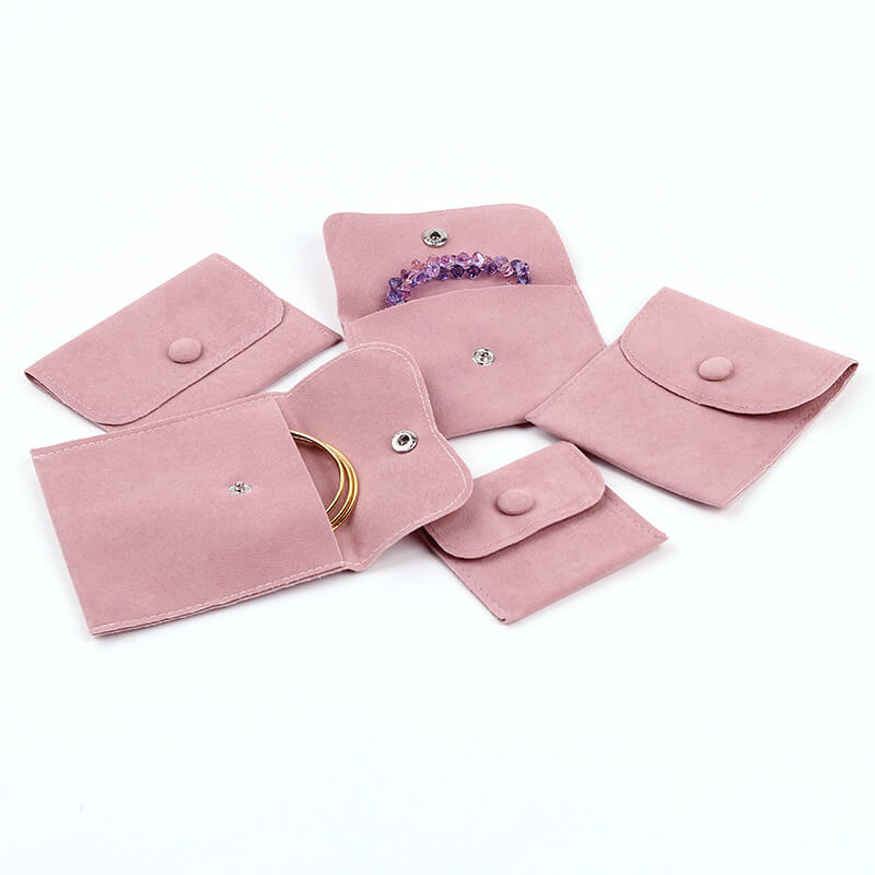 Pink Velvet Jewelry Gift Pouches with Snap Button-1