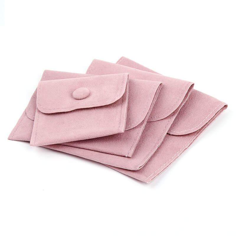 Pink Velvet Jewelry Gift Pouches with Snap Button-2
