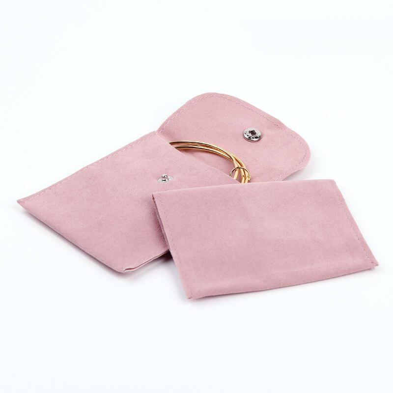 Pink Velvet Jewelry Gift Pouches with Snap Button-3