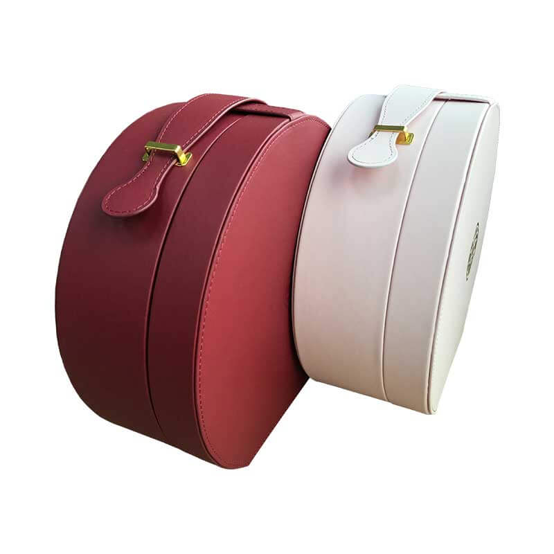 Portable Leatherette Round Shape Packaging Boxes-2