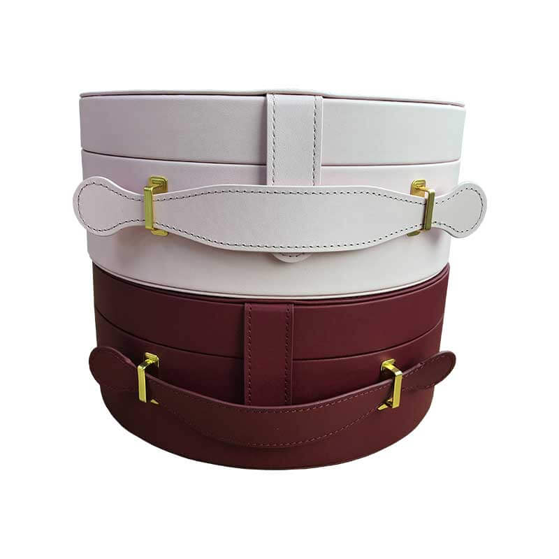 Portable Leatherette Round Shape Packaging Boxes-3
