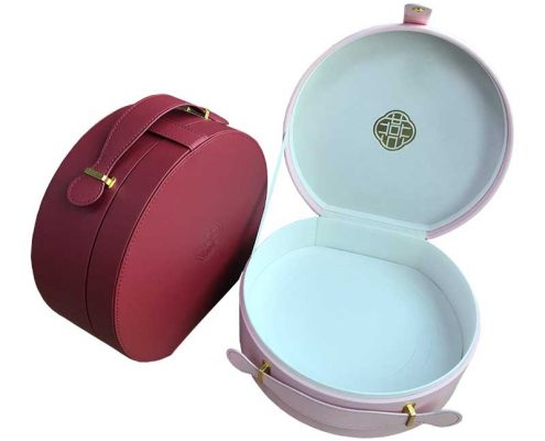 Portable Leatherette Round Shape Packaging Boxes-4