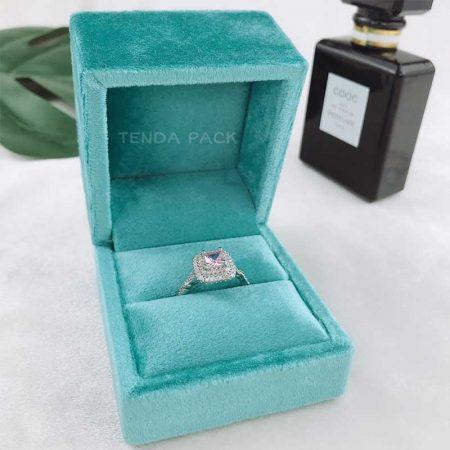 Aqua Green Velvet RIng Boxes-5