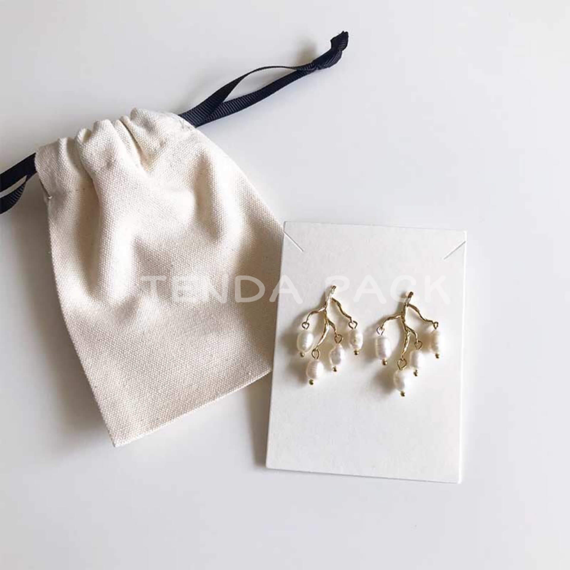 Cotton Jewelry Pouch with Ribbon Drawstring-4