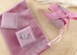 Dusty Pink Square Velvet Ring Boxes-1