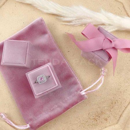 Dusty Pink Square Velvet Ring Boxes-1