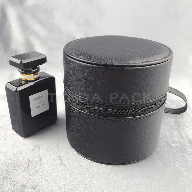 Portable PU Leather Round Boxes With Zipper-2