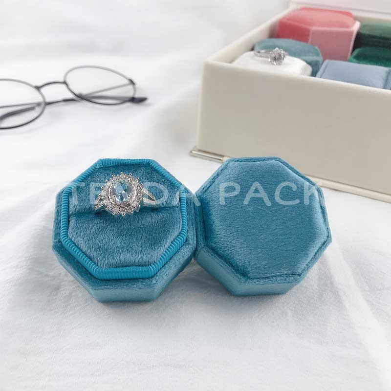 Coral Blue Octagon Velvet Wedding Ring Boxes