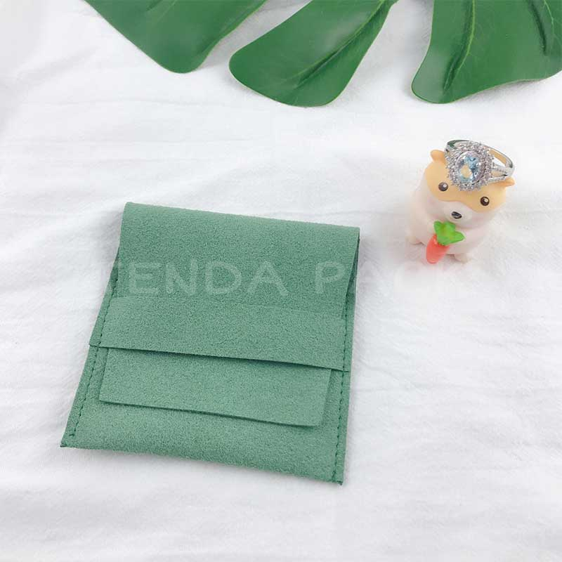 Light Green Microfiber Jewelry Pouches-2
