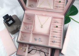 Luxury PU Leather Jewelry Organizer Box With Mirror-4