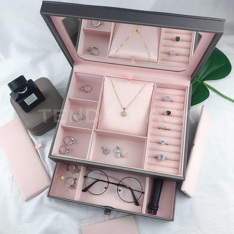 Luxury PU Leather Jewelry Organizer Box With Mirror-4