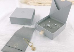 Printed Paper Jewelry Drawer boxes With Pouch-6