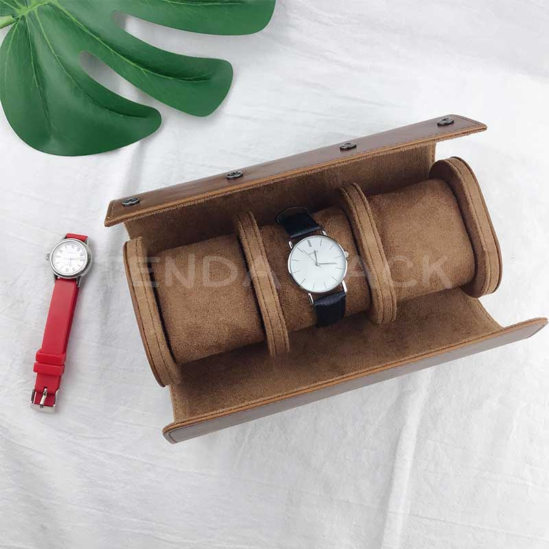 Leather Travel Watch Box With Zipper Closure-1
