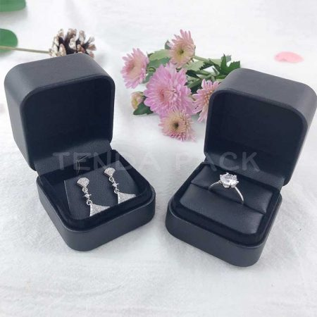 Cute Black Pu Leather Ring Earring Pendant Boxes-1