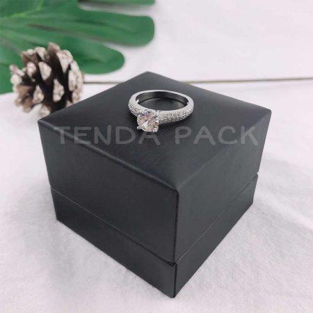 Elegant Black PU Leather Ring Box-3