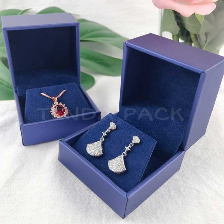 Fancy Blue Artificial Leather Earring Pendant Jewelry Boxes-4