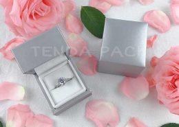 Premium Silver PU Leather Jewelry Ring Box-4