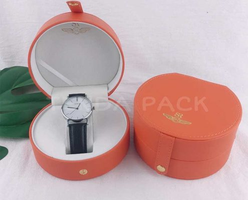 Premium PU Leather Round Shape Watch Boxes With Handle-1