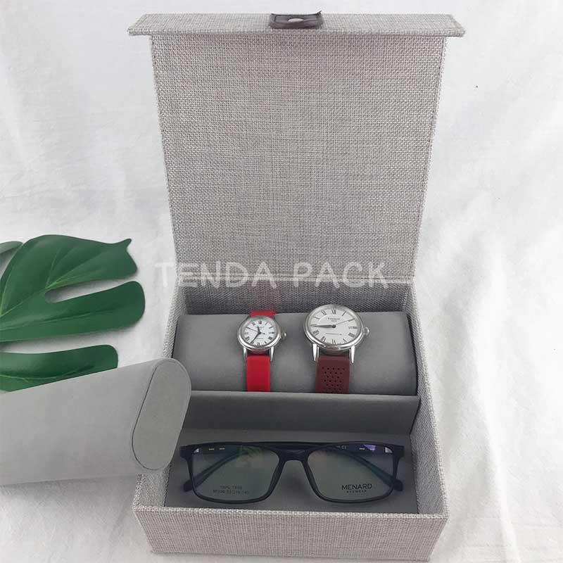 Linen Watches Bangles Bracelets Eyewear Organizer Box-4