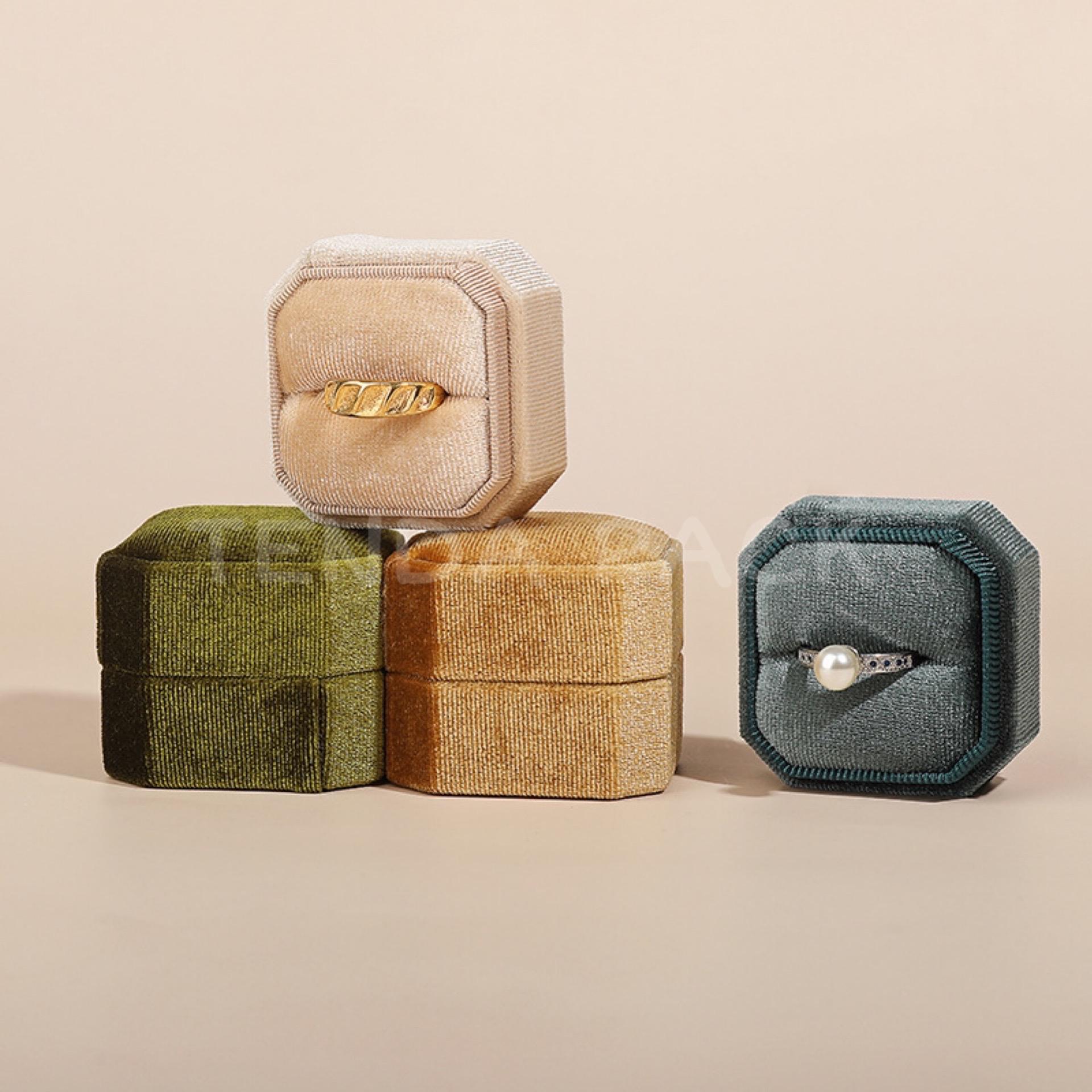 Sunny Square Octagon Velvet Ring Boxes-1